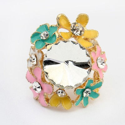 Charming multicolor gemstone decorated flower design alloy Korean Rings