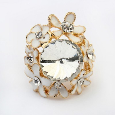 Sullen white gemstone decorated flower design alloy Korean Rings
