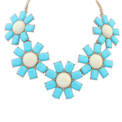 Single blue gemstone decorated flower design alloy Bib Necklaces