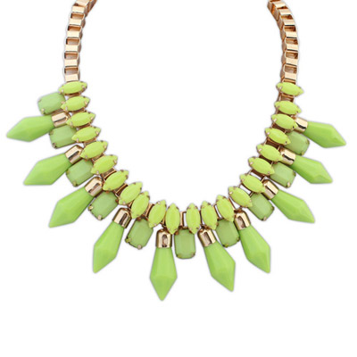 Cranes green gemstone decorated simple design alloy Bib Necklaces