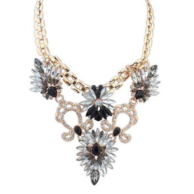 Free black diamond decorated symmetrical design alloy Bib Necklaces