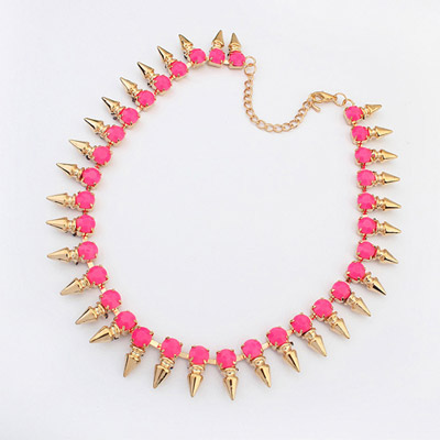 Padded plum red gemstone decorated rivet shape design alloy Bib Necklaces