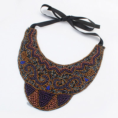 Birthing blue beads decorate fake collar design bead Bib Necklaces
