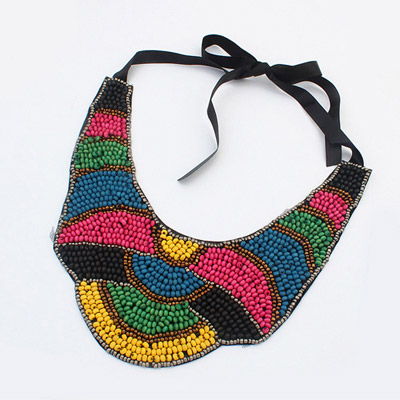 American multicolor beads decorated symmetrical design bead Bib Necklaces