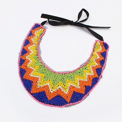 Healing multicolor beads decorated wavy design bead Bib Necklaces