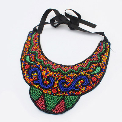 Hippie multicolor beads decorate fake collar design bead Bib Necklaces