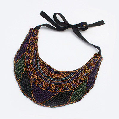 Specialty brown beads decorate fake collar design bead Bib Necklaces