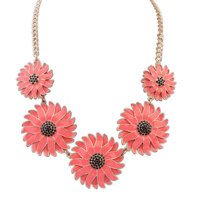 Bohemian padparadscha flower decorated simple design alloy Bib Necklaces