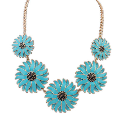 Cocktail blue flower decorated simple design alloy Bib Necklaces