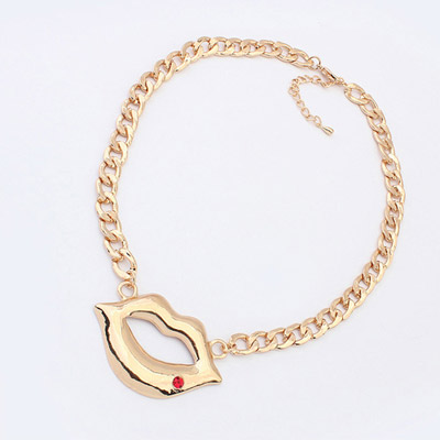 Preppy ancient gold & red diamond decorated lips pendant design alloy Chains
