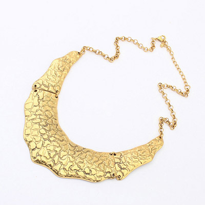 Printed bronze geometrical shape simple design alloy Bib Necklaces
