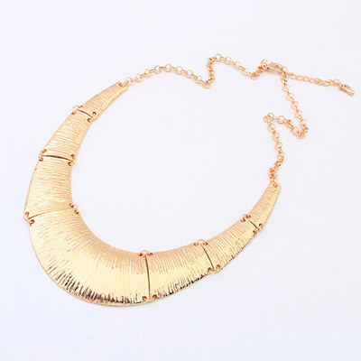 Shining ancient gold U-shape simple design alloy Bib Necklaces