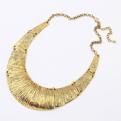 Birthing bronze U-shape simple design alloy Bib Necklaces