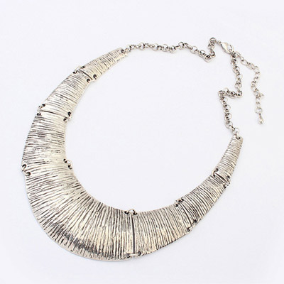Printable ancient silver U-shape simple design alloy Bib Necklaces