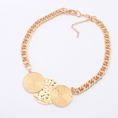 Rolling ancient gold round shape decorated simple design alloy Bib Necklaces