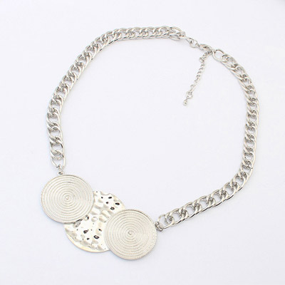 Handmade ancient silver round shape decorated simple design alloy Bib Necklaces