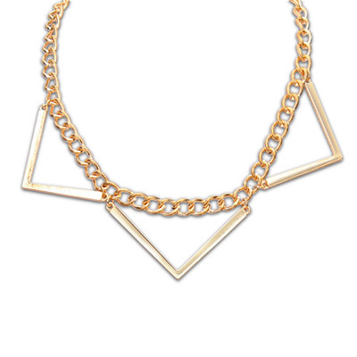 Fingerprin gold color metal decorated triangle shap design alloy Bib Necklaces