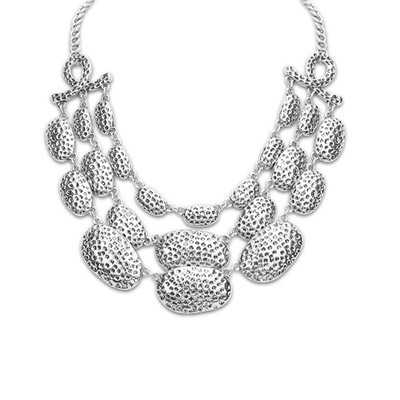 2013 ancient silver metal decorated multi-level design alloy Bib Necklaces