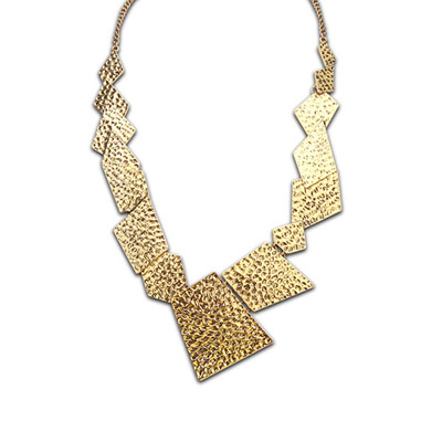 Plus Size bronze geometrical shape simple design alloy Bib Necklaces