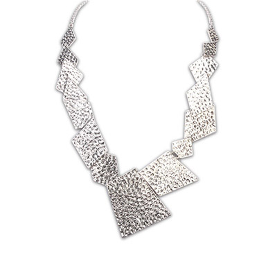 Scottish ancient silver geometrical shape simple design alloy Bib Necklaces