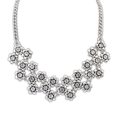 Ultra ancient silver diamond decorated flower design alloy Bib Necklaces