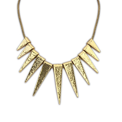 Noble bronze triangle shape decorated simple design alloy Bib Necklaces
