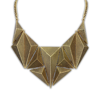Vellum bronze geometrical shape simple design alloy Bib Necklaces