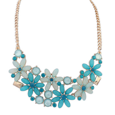Novelty blue gemstone decorated flower design alloy Bib Necklaces