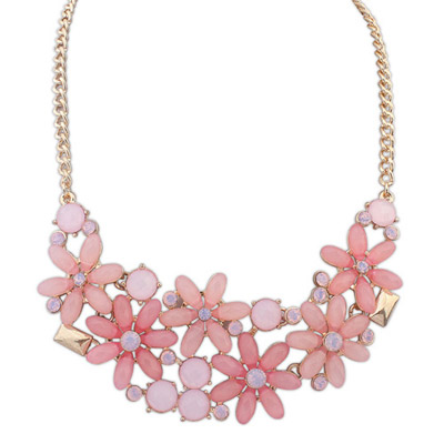 Hardy pink gemstone decorated flower design alloy Bib Necklaces