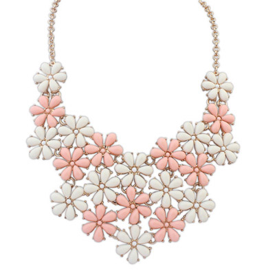 New pink & white flower decorated simple design alloy Bib Necklaces