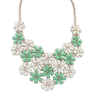 Waist green & white flower decorated simple design alloy Bib Necklaces