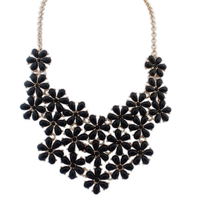Unusual black flower decorated simple design alloy Bib Necklaces