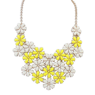 Postal yellow & white flower decorated simple design alloy Bib Necklaces