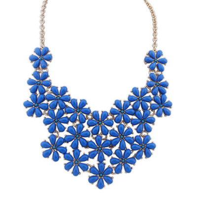 Tory blue flower decorated simple design alloy Bib Necklaces