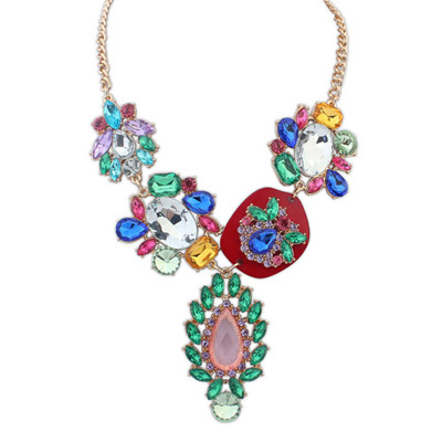 Plaid multicolor diamond decorated waterdrop shape design alloy Bib Necklaces
