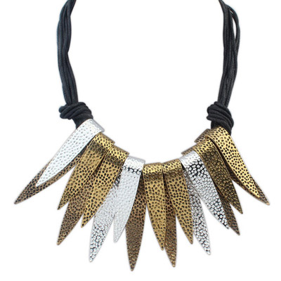 Etcetera gold color & white double-layer metal decorated simple design alloy Bib Necklaces
