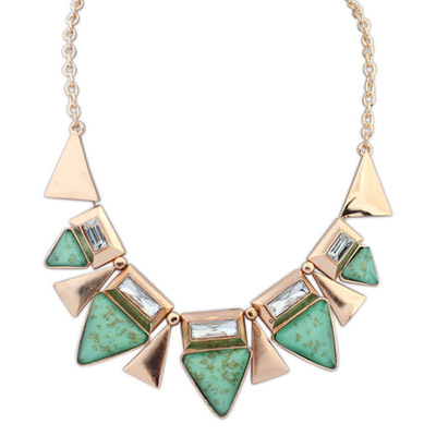 Fingerprin green diamond decorated triangle shape design alloy Bib Necklaces