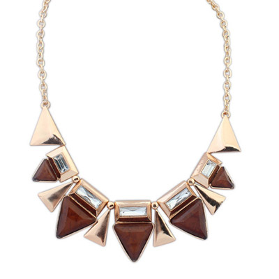 Kids coffee diamond decorated triangle shape design alloy Bib Necklaces