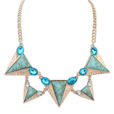 Vera blue gemstone decorated triangle shape design alloy Bib Necklaces