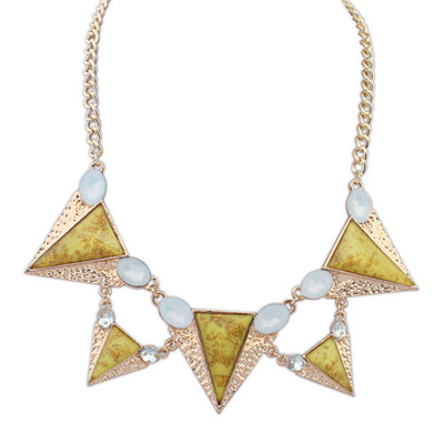 Antique yellow gemstone decorated triangle shape design alloy Bib Necklaces