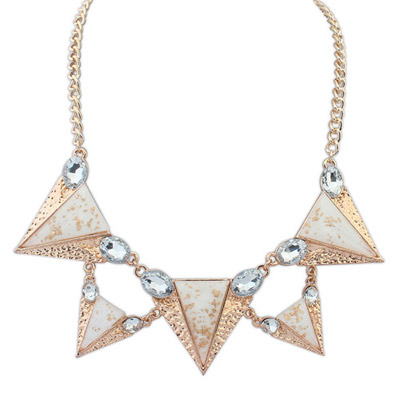 Lucky white gemstone decorated triangle shape design alloy Bib Necklaces
