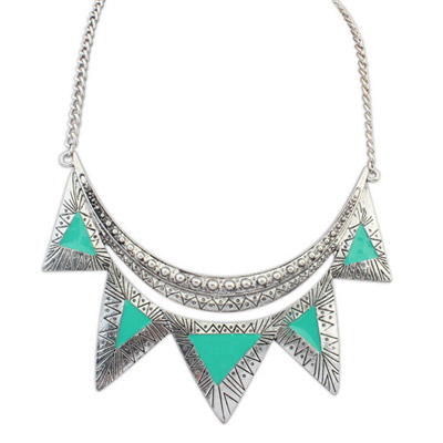 Christenin green triangle shape decorated simple design alloy Bib Necklaces