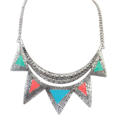 Free multicolor triangle shape decorated simple design alloy Bib Necklaces