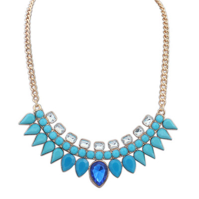 Juniors blue gemstone decorated waterdrop shape design alloy Bib Necklaces
