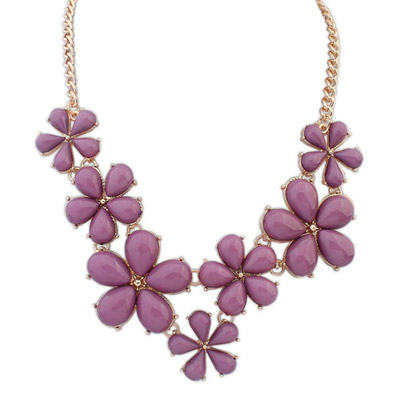 Current purple flower decorated simple design alloy Bib Necklaces