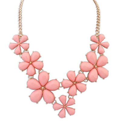 Torrid pink flower decorated simple design alloy Bib Necklaces