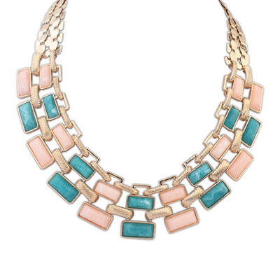 Hunting multicolor gemstone decorated square shape design alloy Bib Necklaces