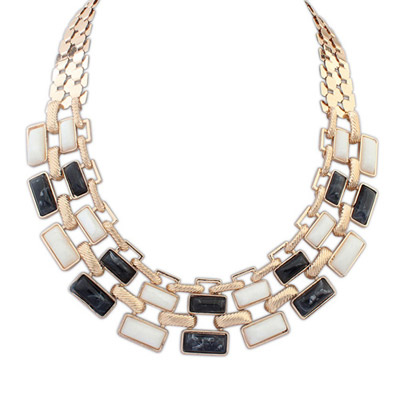 Equestrian black & white gemstone decorated square shape design alloy Bib Necklaces