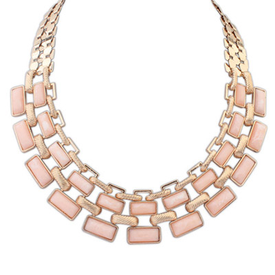 Padded pink gemstone decorated square shape design alloy Bib Necklaces