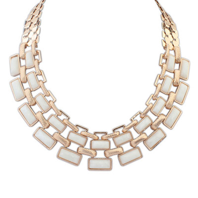 Fair white gemstone decorated square shape design alloy Bib Necklaces